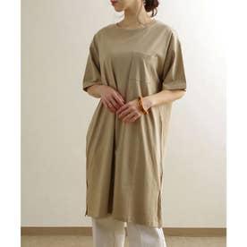 ポケット付きコットンビッグTシャツ ルームウエア (ベージュ(12)(21199001))