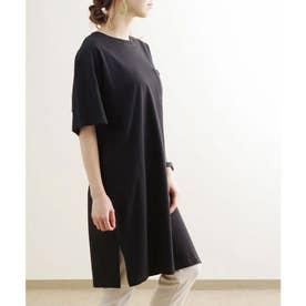 ポケット付きコットンビッグTシャツ ルームウエア (ブラック(02)(21199001))