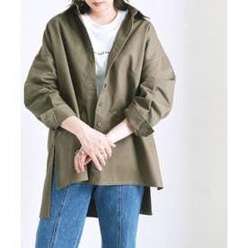ボリューム袖オーバーサイズツイルシャツ al AW (カーキ(48))