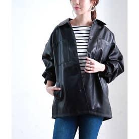 フェイクレザーシャツジャケット (ブラック(02))
