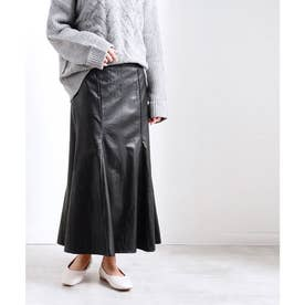 フェイクレザーマーメイドスカート (ブラック(02))