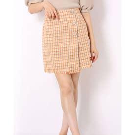 ミーア アウトレット ツィードビジューラップ風スカート (オレンジ)