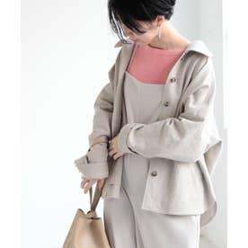 LR ミリタリーシャツジャケット C/Fギャバ (ベージュ)
