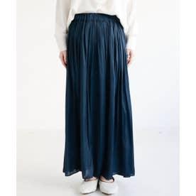 ギャザーマキシスカート 割繊サテン (ネイビー)