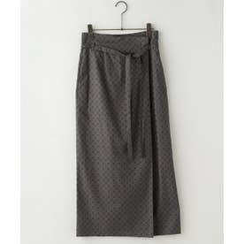 アフリカン幾何プリントラップ風スカート (ブラウン)