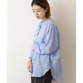 綿シルク東炊きスタンドカラーシャツ (サックス)