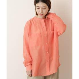綿シルク東炊きスタンドカラーシャツ (ピンク)
