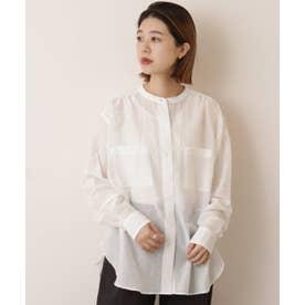 綿シルク東炊きスタンドカラーシャツ (オフ白)