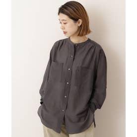 綿シルク東炊きスタンドカラーシャツ (スミクロ)