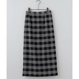 Wフェイスチェックナロースカート (ネイビー)