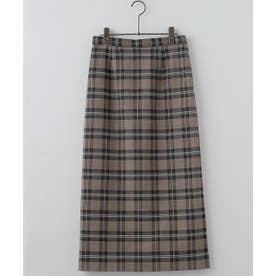 Wフェイスチェックナロースカート (ブラウン)