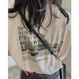 バックフォトTシャツ (ベージュ)
