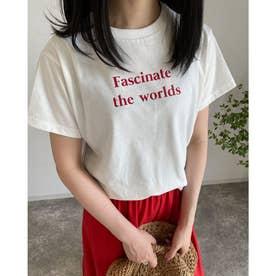 カラープリントロゴTシャツ (オフホワイト/アカ)