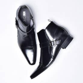 (シークレットインソール仕様)ロングレッグサイドベルトストレートチップビジネスブーツ (ブラック)