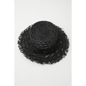 moussy RAFFIA BRIM HAT (ブラック)