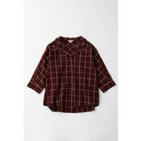 OPEN COLLAR SUCKER PLAID SHIRT (ダークレッド)