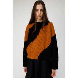 WAVE COLOR BLOCK KNIT (ブラック)