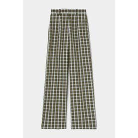 moussy CHECK LOOSE PANTS (グリーン)
