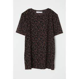 moussy LEOPARD SEE THROUGH TEE (ブラウン)