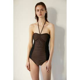 BI COLOR RUCHED SWIMSUIT 【返品不可商品】(ブラウン)