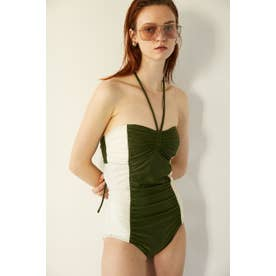 BI COLOR RUCHED SWIMSUIT 【返品不可商品】(カーキ)