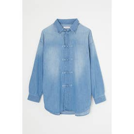 CHINA BUTTON DENIM シャツ L/BLU1