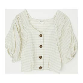 PUFF SLEEVE CHECK CROP トップス IVOY3