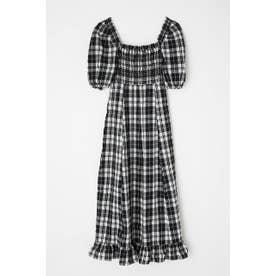 PUFF SLEEVE CHECK ドレス 柄WHT5