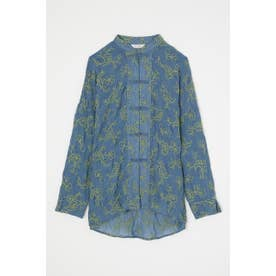 EMBROIDERED SHEER シャツ BLU