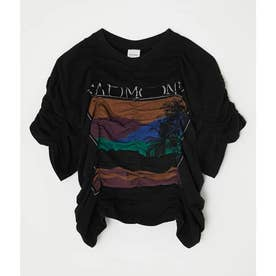 SHIRRING PRINT Tシャツ BLK