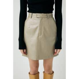 GLOSS F/LEATHER MINI スカート BEG