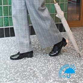 【撥水仕様】 雨の日も安心♪ シンプルなデザイン 撥水モカシンシューズ  DML7105 (ブラックエナメル)