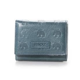 二つ折りL字ファスナー財布 (ブルー)