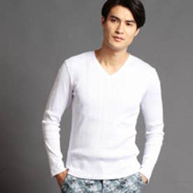 VネックテレコTシャツ (09ホワイト)