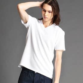 タックボーダー柄VネックTシャツ (09ホワイト)