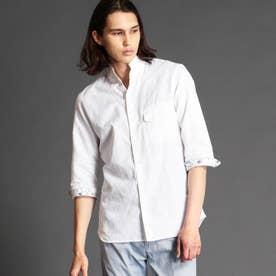 ボタニカルジャカードスタンドカラーシャツ (09ホワイト)