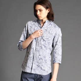 ボタニカルジャカードスタンドカラーシャツ (67ネイビー)