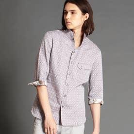 ジオメトリックジャカードスタンドカラーシャツ (13ブラウン)