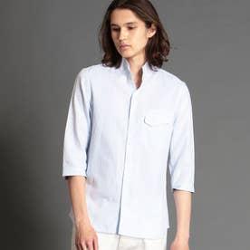 ジオメトリックジャカードスタンドカラーシャツ (64サックス)