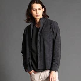 抜染プリントスタンドカラーシャツ (39チャコールグレー)