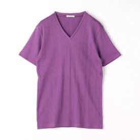 半袖VネックTシャツ (80パープル)