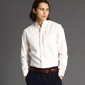 リネンブレンドスタンドカラーシャツ (09ホワイト)