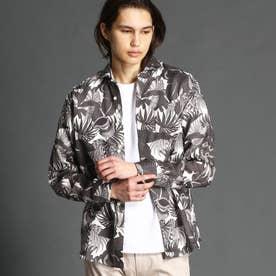 【ex/tra】ボタニカルプリントリネンシャツ (29グレー)