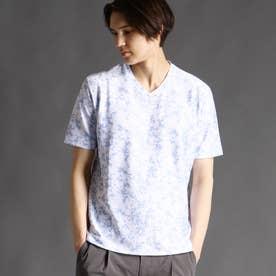 【ex/tra】ボタニカルプリントTシャツ (64サックス)