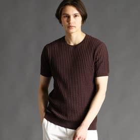 クルーネックニットTシャツ (13ブラウン)