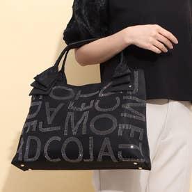 フリルハンドルロゴデザインバッグ (ブラックコンビ)