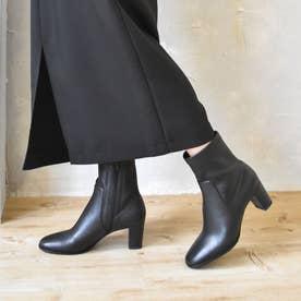 シンプルストレッチショートブーツ (ブラック)