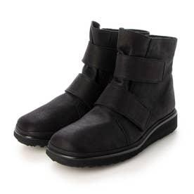 【3E】スクエアトゥベルクロデザインショートブーツ (ブラック)