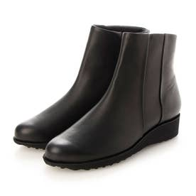 ウェッジヒールショートブーツ (ブラック)