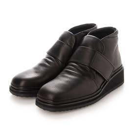 【3E】ベルテッドショートブーツ (ブラック)